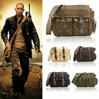 Men's Vintage Canvas Leather Satchel School Military Shoulder Bag Messenger BagT
