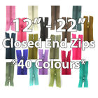 """12"""" 14"""" 16"""" 18"""" 20"""" 22"""" CLOSED END No3 NYLON ZIPS *6 SIZES 40 COLOURS* SEWING"""