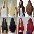 Cosplay 28'' Women Ladies Long Straight Hair Full Wigs No Bang Heat Resistant