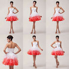 Beauty Sweet Girl Beaded White&Red Cocktail  Prom Party Organza Princess Dress