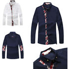 New Korean Fashion Mens Luxury Casual Slim Fit Stylish Long Sleeve Dress Shirts