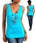 WOMENS TOP blouse necklace crisscross waist Fitte S M L