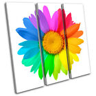 Abstract Sunflower  Floral TREBLE CANVAS WALL ART Picture Print VA