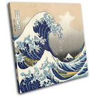 Hokusai Great Wave  Illustration SINGLE CANVAS WALL ART Picture Print VA