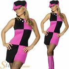 Ladies Swinging 60s 70s Sixties Fancy Dress Costume Womens Outfit Hat Size 8-18