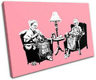 Knitting Grannies Banksy Painting SINGLE CANVAS WALL ART Picture Print VA