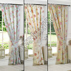 "BIRDCAGE FLORAL CHIC BUTTERFLY 3"" TAPE TOP FULLY LINED PAIR READY MADE CURTAINS"