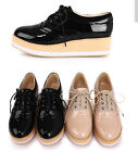 uk4-9 womens high platform oxfords punk lace Up faux patent leather wing tips