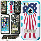 For Apple iPhone 5 5S SE Rubber IMPACT TUFF HYBRID KICK STAND Case Phone Cover
