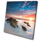 Sunset Seascape Seascape Beach  SINGLE CANVAS WALL ART Picture Print VA