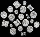 Pair CONCAVE SHATTERED LOOK CLEAR QUARTZ SADDLE PLUGS Choose Size 8g - 1/2""