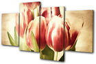 Vintage Tulips Flowers MULTI CANVAS WALL ART Picture Print VA