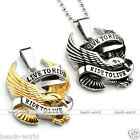 1xMen Live to Ride Eagle Motorcycle Biker Pendant Chain Necklace Stainless Steel