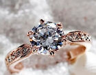 18K Rose Gold Plated GP Crystal Wedding Engagement Band Ring hot