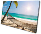 Sunset Seascape Beach SINGLE CANVAS WALL ART Picture Print VA
