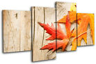 Autumn Leaves Floral MULTI CANVAS WALL ART Picture Print VA