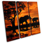 Elephant African Sunset Animals TREBLE CANVAS WALL ART Picture Print VA