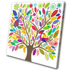 Illustration Colourful tree SINGLE CANVAS WALL ART Picture Print VA