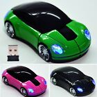 USB Wireless Optical Car Shaped Mouse Mice 2.4G 1800CPI For PC Laptop Mac 35DI