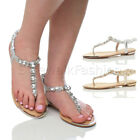 WOMENS LADIES LOW HEEL SLINGBACK T-BAR METALLIC GEM TOE POST SUMMER SANDALS SIZE