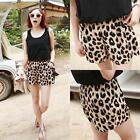 Stylish Womens Ladies Leopard Shorts Middle Waist Stretchy Mini Short Pants