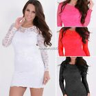 Womens Fashion Crewneck Hollow Crochet Splice Lace Long Sleeve Sexy Dress Red