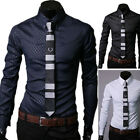 Fashion Men Casual Long sleeve Slim Fit Shirt Tops Formal Dress Shirts 5 Size
