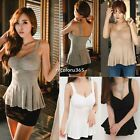 Strap Women's Tank Top Sexy Casual Cotton Low-cut Black White Base Shirt N4U8