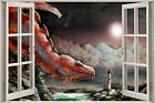Huge 3D Window Fantasy Dragon Thrones Castle View Wall Stickers Decal Mural