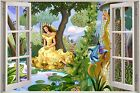 Huge 3D Window Fantasy Fairy Tale Princess View Wall Stickers Decal Mural