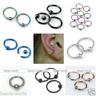 10x Stainless Steel Captive Ear Nose Eyebrow Hoop Ring Ball Bar Punk Gift 16G