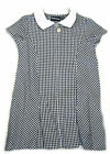 Girls Banner navy and white gingham dress with hair bobble 3104-AVON