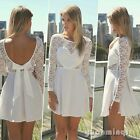 Sexy Women Ladies Celeb Lace Heart Chiffon Evening Party Bowknot Flared Dresses
