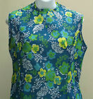 Vintage summer dress 1960s 1970s Ladies UK Size 14 18 FLOWER POWER print UNUSED