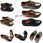 s015e37 Casual Womens Shoes Classic Lace Up Dress Oxford Low Flat Heel Bronze