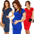Comfortable Womens Maternity Office Short Sleeve Stretch Tunic V neck Dress Hot