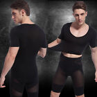Men V Neck Muscle Fitted Stretch Corset T-Shirt Shapewear Short Sleeve Underwear