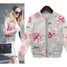 Hot Sale Women Stand Collar Long Sleeve Zipper Floral Bomber Printed Jacket Coat