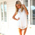 Womens Chiffon Lace Long Tops Shirts Sleeveless Ladies Short Party Beach Dress