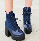 SZ US4.5-11 Womens Chunky Heels Ankle Boots Lace Up Faux Leather Suede Shoes