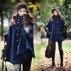 Lady Short Coat Jacket Double-breasted Cape Wool Poncho Cloak Overcoat Outerwear