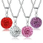 Women Korean Crystal Rhinestone Ball Necklace Pendant White Gold Plated Jewelry