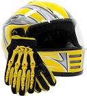 Youth Helmet & Gloves Motorcycle Combo Full Face Yellow