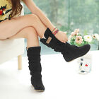 Fashion Womens Autumn Winter Lace Cuff Boots Increased Internal woolen Shoes