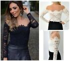Fashion Women's Sexy Off-Shoulder Long Sleeve Lace Tops T-Shirt Blouse S M L -LG