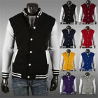 Mens Sports Hoodie Stylish Varsity Hood Coat  Cool Baseball Long Sleeve Jacket