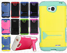 LG Optimus Exceed 2 VS450 Hybrid Hard Rubber Case KickStand Cover +Screen Guard