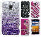 For AT&T GoPhone ZTE Z998 Crystal BLING Hard Case Phone Cover Screen Protector