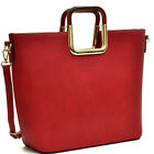 Women Flat Bottom Handbag Square Metal Handle Bag Gold Tone Tote PU Leather Bag