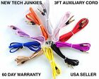 3FT FLAT BRAIDED AUX 3.5mm stereo audio auxiliary cable for iPod iPhone 5 6 plus